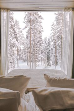 The Arctic Treehouse Hotel in Finland with Alyssa Campanella of The A List Winter Cabin, Winter Love, Winter Snow, Treehouse Hotel, Snow Covered Trees, Window View, The Places Youll Go, Winter Wonderland, Beautiful Places
