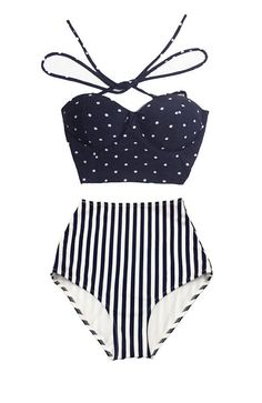 Navy Blue Polka dot Midkini Top and Stripe Striped High Waisted Waist Shorts Bottom Woman Women Swimsuit Swimwear Bikini Bathing suit S M L by venderstore on Etsy https://www.etsy.com/listing/235077050/navy-blue-polka-dot-midkini-top-and