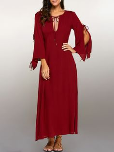 Split Sleeve Lacing Maxi Dress