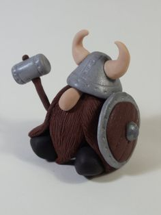 Cute beardy Viking Gnome With Helmet, Shield and War Hammer