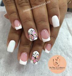 French Manicure Nail Designs, Acrylic Nail Designs, Acrylic Nails, Cute Nail Art, Cute Nails, Nail Spa, Short Nails, Nailart, Samara