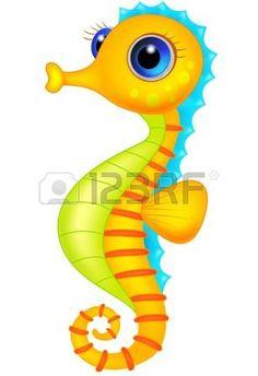 Bande dessin�e mignonne d'hippocampe photo