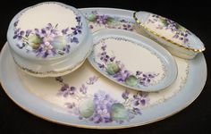 Antique M&Z Austria Purple Violets Vanity Tray Set Trinket Box Blue Jewelry Dish
