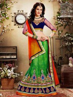 Green Net Lehenga Choli With Resham And Zari Work www.saree.com