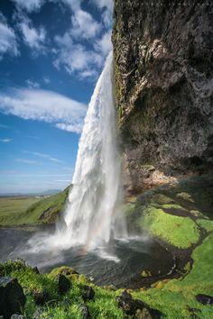 Waterfall near Hvolsvöllur in South Iceland, dropping 60 meters.  Seljalandsfoss by Svenia Schreiner on 500px