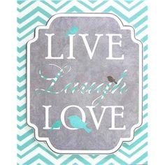 Turquoise Live Laugh Love Chevron Print Canvas