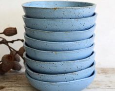 Duck Egg Blue Bowl - keramische Bowl - aardewerk Bowl - granen Bowl - steengoed Bowl - Breakfast Bowl