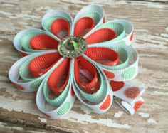 Flower hair clips ribbon flower hair clips hair by BlissfulBabyKb