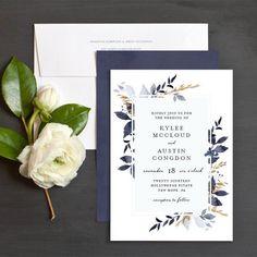 Leafy Frame Wedding Invitations by Emily Crawford | Elli #weddinginvitation