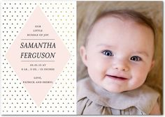 Zoey - Girl Photo Birth Announcements - Pottery Barn Kids - Chenille - Pink : Front
