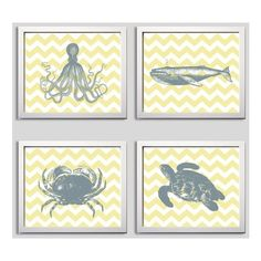 Chevron Nautical Nursery grey yellow boy Beach Ocean Sea more colors... ❤ liked on Polyvore featuring home, children's room and children's decor
