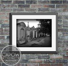 New Orleans Art  Garden District Cemetery black and white by CAPow, $15.00
