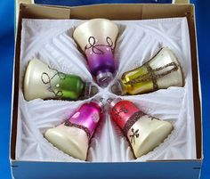 Vintage German Christmas Ornaments Bells Lanissa | eBay