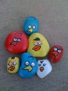 Angry Birds rocks, would be a nice decoration for a garden party.
