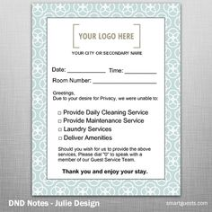 DND Notes - Housekeeping to Guest Notification Laundry Service, Cleaning Service, Hotel Housekeeping, Marketing Tools, Customer Service, Notes, Learning, Frame, Picture Frame