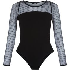 New Look Petite Black Mesh Long Sleeve Bodysuit (78 PEN) ❤ liked on Polyvore featuring intimates, shapewear and black