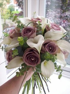 "Absolutely Beautiful Hand Tied Bouquet Comprised Of: ""Lavender"" Amnesia Roses, Large White Calla Lilies, Green Lily Grass, & Green Baby Eucalyptus..........................................."
