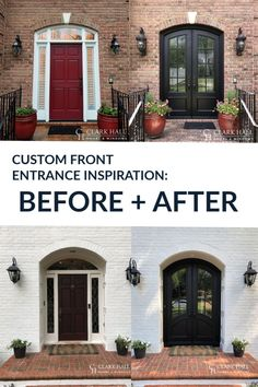 Custom iron front entry doors transform the design of any entrance. Don't worry about losing your single door's side lights. With large glass windows to let in all the natural light, these custom made traditional double doors take your exterior french door ideas to the next level. Custom Front Doors, Traditional Front Doors, House Front, Front Door Makeover, House Exterior, French Doors Exterior, Double Doors Exterior, Double Doors Interior