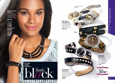 EVERY GIRL NEEDS basic black! Blackout Beaded Collection - Black faceted multistrand beads with rhinestone embellishment. Necklace& Double-Strand Bracelet. Bold Texture Wrap Bracelet - Leatherlike double-wrap bracelet with goldtone studs.Wild Side Strap Watch - Silvertone case with rhinestone bezel. Leatherlike animal-print strap.Wraparound-Strap Watch double-wrap leatherlike strap with silvertone studs and chain. www.youravon.com/lcrayton #avon #necklace #bracelets #basicblack #beads #watch
