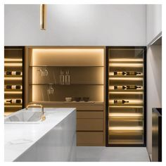 Wine Shelves, Wine Storage, Apartment Kitchen, Kitchen Interior, Pantry Inspiration, Home Wine Cellars, Modern Home Bar, Wine Cellar Design, Wine House