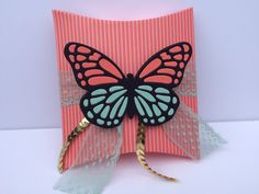 Square Pillow Box Die, Stampin Up, Holiday Catalog 2015, Butterfly Thinlits, Gold Sequins, The Stamp Cycle