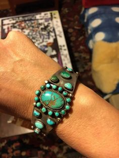 Fabulous Navajo Silver And Turquoise Cuff Bracelet