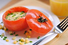 Baked eggs in tomato cups: Start your mornings with veggies for breakfast.""