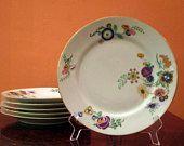 LIMOGES T.L.B -French Art Deco- 14 Piece Dinner Service-Limoges Stamp-Hand Painted-1920s-Gorgeous Vivid Art Deco Floral Details-RARE DESIGN