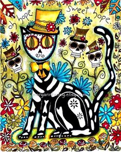 Mexican Cat Art Print Day of the Dead Art by maryannfarley on Etsy, $12.00