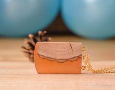 Check out Orange view necklace, nature pendant, resin necklace, wooden pendant, statement necklace, orange resin necklace, layered necklace. on forestfuzz