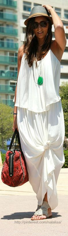Great summer look. Love the knotted skirt...All it needs is a long sleved shirt and a scarf...Love this dress...