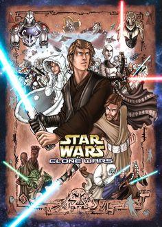 Fan poster for Star Wars: Clone Wars 2003 micro-series... pretty good!