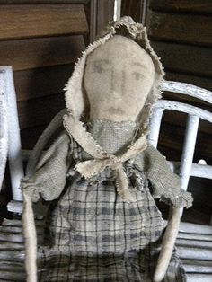 Primitive Folk Art Prairie Rag Doll with Bonnet by mustardseed, $19.99 Old Dolls, Antique Dolls, Colonial, Sage Color, Primitive Folk Art, Early American, Vintage Buttons, Miniature Dolls, How To Draw Hands