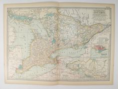 1901 Vintage Map of Quebec Canada Canadian Decor Gift for New
