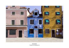 Trio of houses in Burano, Italy
