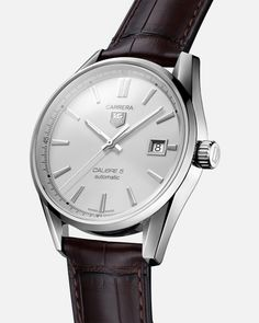 TAG Heuer Carrera Watch Calibre 5 Automatic Men 39 mm - WAR211B.FC6181 Tag Heuer Carrera Chronograph, Tag Heuer Carrera Calibre, Tag Heuer Carrera Automatic, Carrera Watch, Tag Heuer Monaco, Mens Watches For Sale, Brown Leather Strap Watch, Hand Watch, Gents Watches