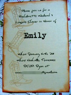 Country Chic 2 Bachelorette Party Invitations  by Lekatzmeow, $2.55