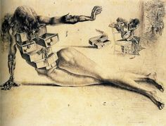 """I have always felt that she has opened all of her drawers searching for some meaning, some answer and has come up empty. Her hand is stretched forward... but why?""""  City of Drawers -Salvador Dali"""