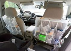 hang a shoe organizer in the car!  21 Must-Read Tips That Will Make Your Next Road Trip Amazingly Memorable - Swifty.com