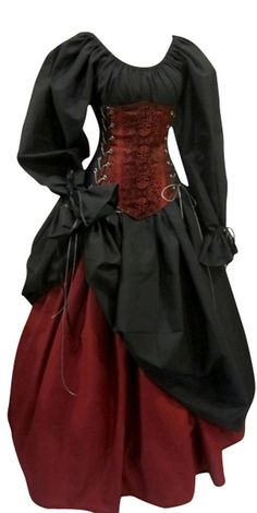 Amazon.com: Buccaneer Pirate Under-bust Corset Set $234.98