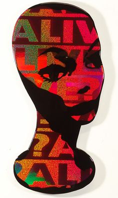 """Treiops Treyfid artwork. Dynamic Portrait of Female Wig Form with Red Tint. spray paint, holograms, on masonite with polyester resin, 11w"""" x 15h"""" #treiops #artwork #holograms"""