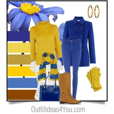 Pair royal blue with its complement yellow for an energized look for fall or winter. Layer on leather boots and fun gloves. For a warmer day, try a fun polka dot blouse with a golden yellow blazer. This outfit will look perfect on a warm spring, clear spring and warm autumn.