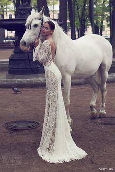 nurit hen 2016 bridal illusion long sleeves bell split sweetheart sheath wedding dress (08) elegant bv open back