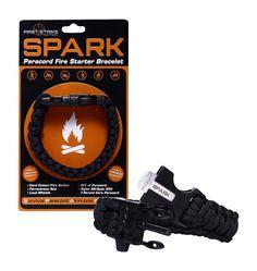 SPARK (TM) Fire Starter Outdoor Survival Black Paracord Bracelet with Black Whistle Side Release Buckle Kit with Scraper - Magnesium Fire Steel - LIFETIME WARRANTY - BEST FIRE STARTER (Black)