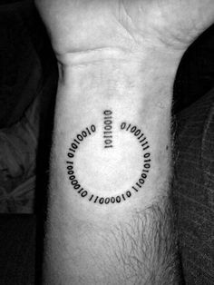 Awesome Power Symbol Binary Wrist Tattoos For Men