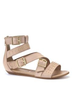 Nude Leather Stud Ankle Cuff Gladiator Sandals