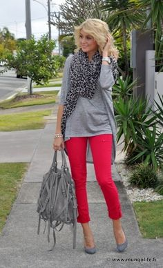 My long stripe tunic with long gray cardigan, gray wedge Toms and scarf with red pants.