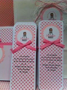 marcapaginas, recordatorio comunion, texto y etiquetas personalizadas, estampado topos rosas