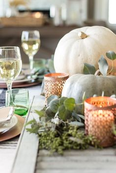 Green and Copper Thanksgiving Tablescape + Printable | blesserhouse.com - How to style a Thanksgiving tablescape using dollar store finds and repurposing typical items around the house for inexpensive holiday decor. #thanksgiving