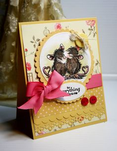 This card is one of a kind and handmade with love. The House Mouse image was colored with Copic Markers and Prisma Color pencils. The card is